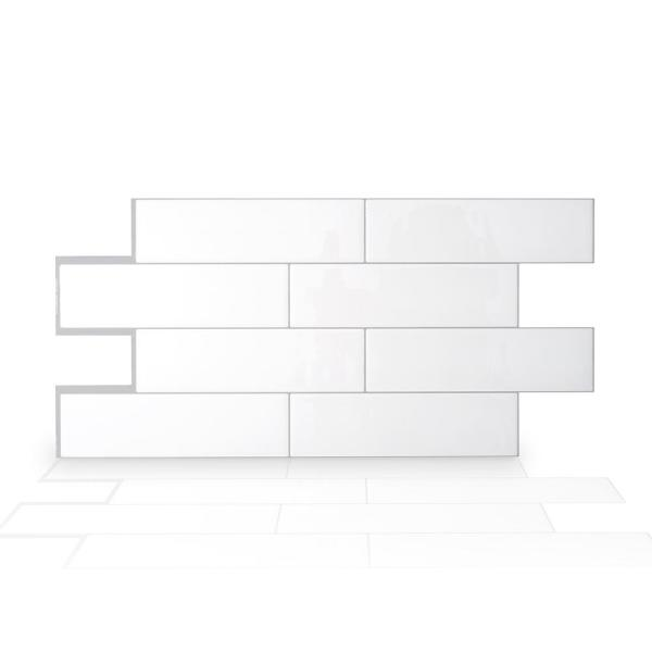 Oslo 22.56 in. W x 10.88 in. H White Peel and Stick Self-Adhesive Decorative Mosaic Wall Tile Backsplash (2-Pack)