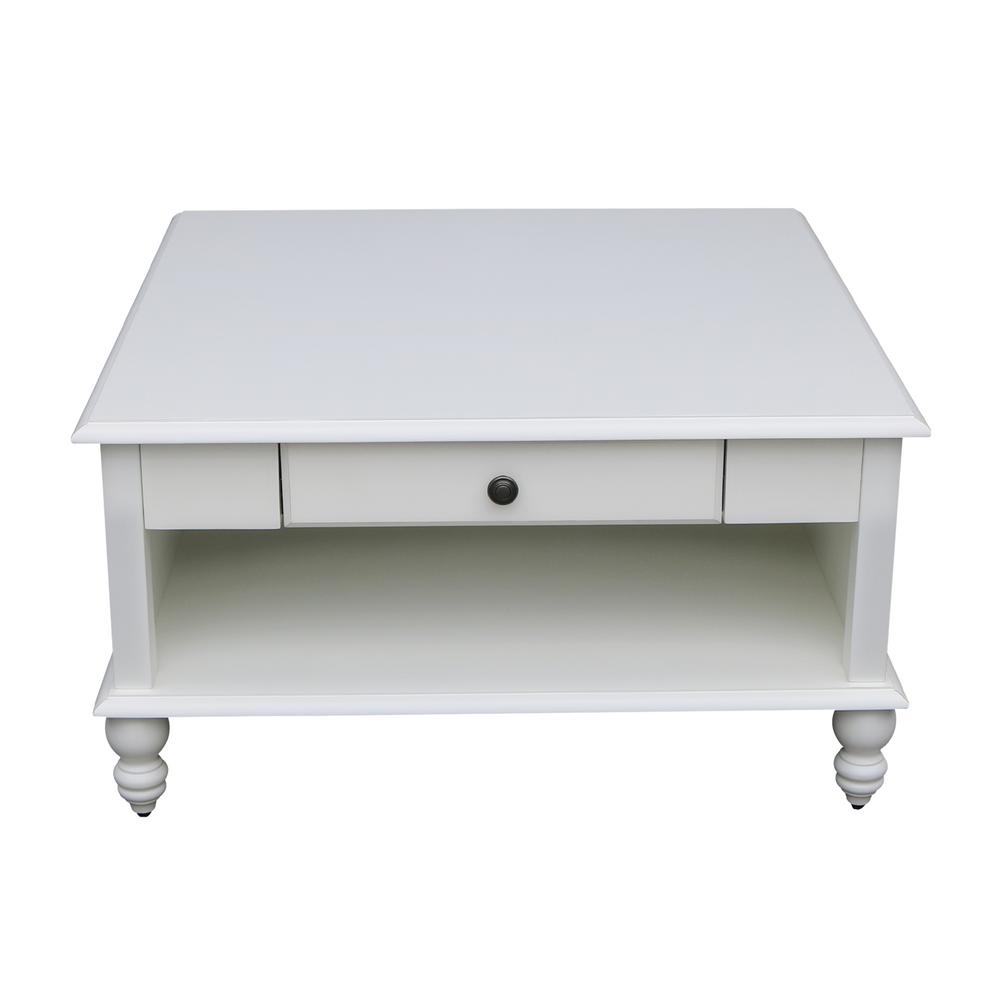 International Concepts Cottage Beach 34 In White Medium Square Wood Coffee Table With Drawers Ot07 20sc The Home Depot