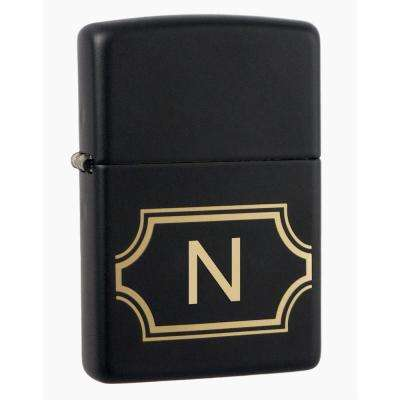 "Black Matte Lighter with Initial ""N"""