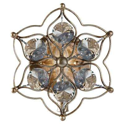 Leila 8.25 in. W Burnished Silver Wall Sconce with Sunflower Shape Bauhinia Crystals