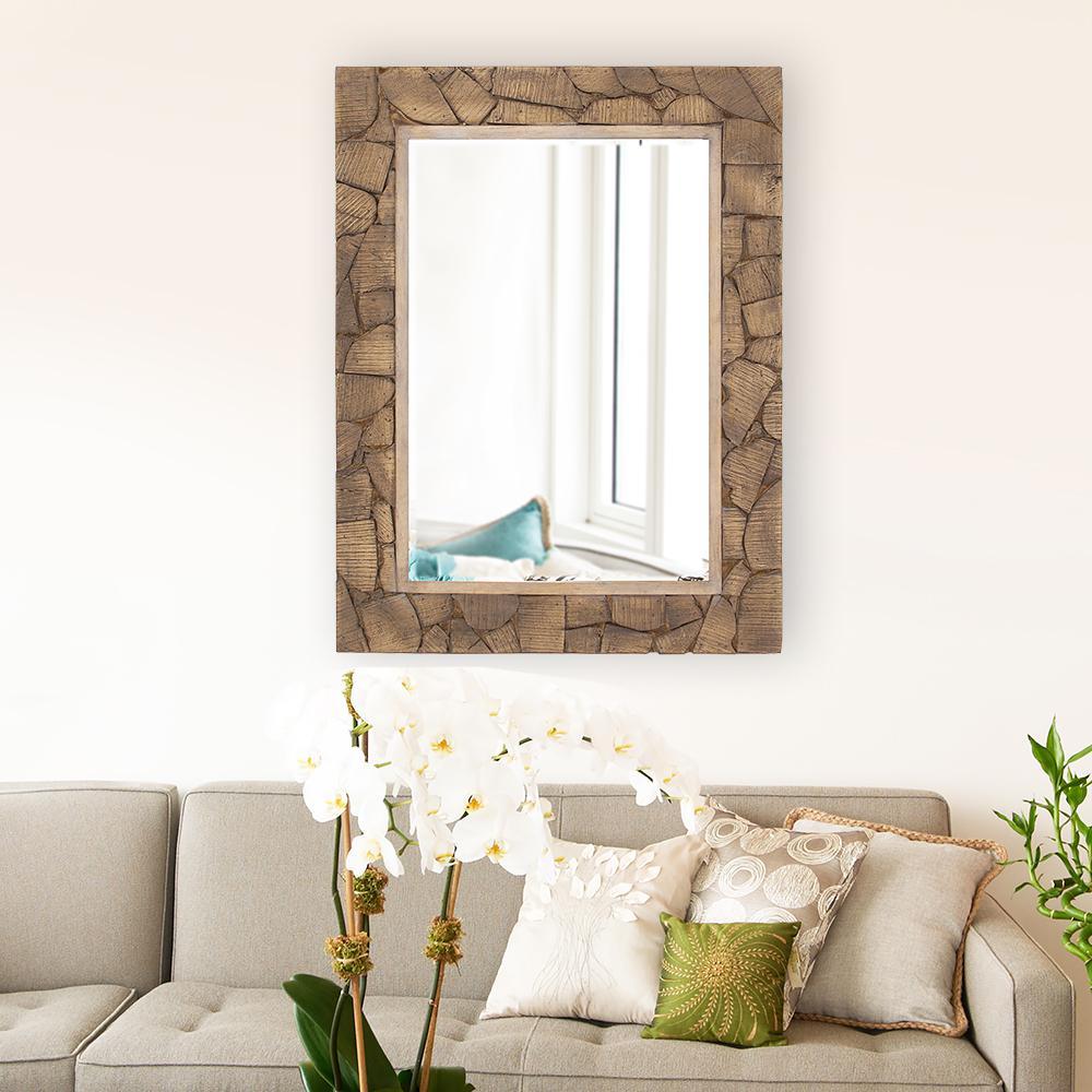 Sylvan Wood Cobblestone Decorative Mirror