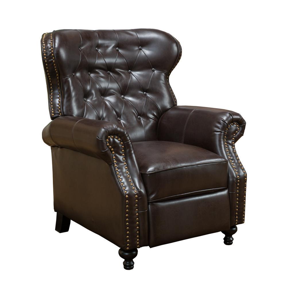 Walder Brown Bonded Leather Studded Recliner