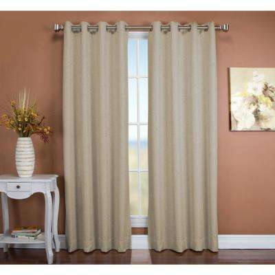Tacoma 50 in. W x 96 in. L Polyester Double Blackout Grommet Window Panel in Parchment