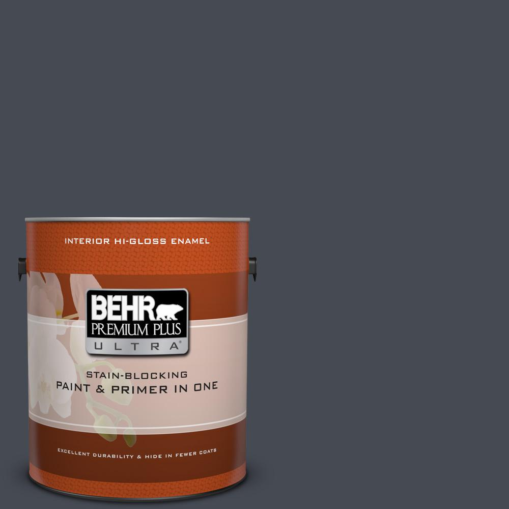 1 gal. #HDC-CL-24 Black Ribbon Hi-Gloss Enamel Interior Paint