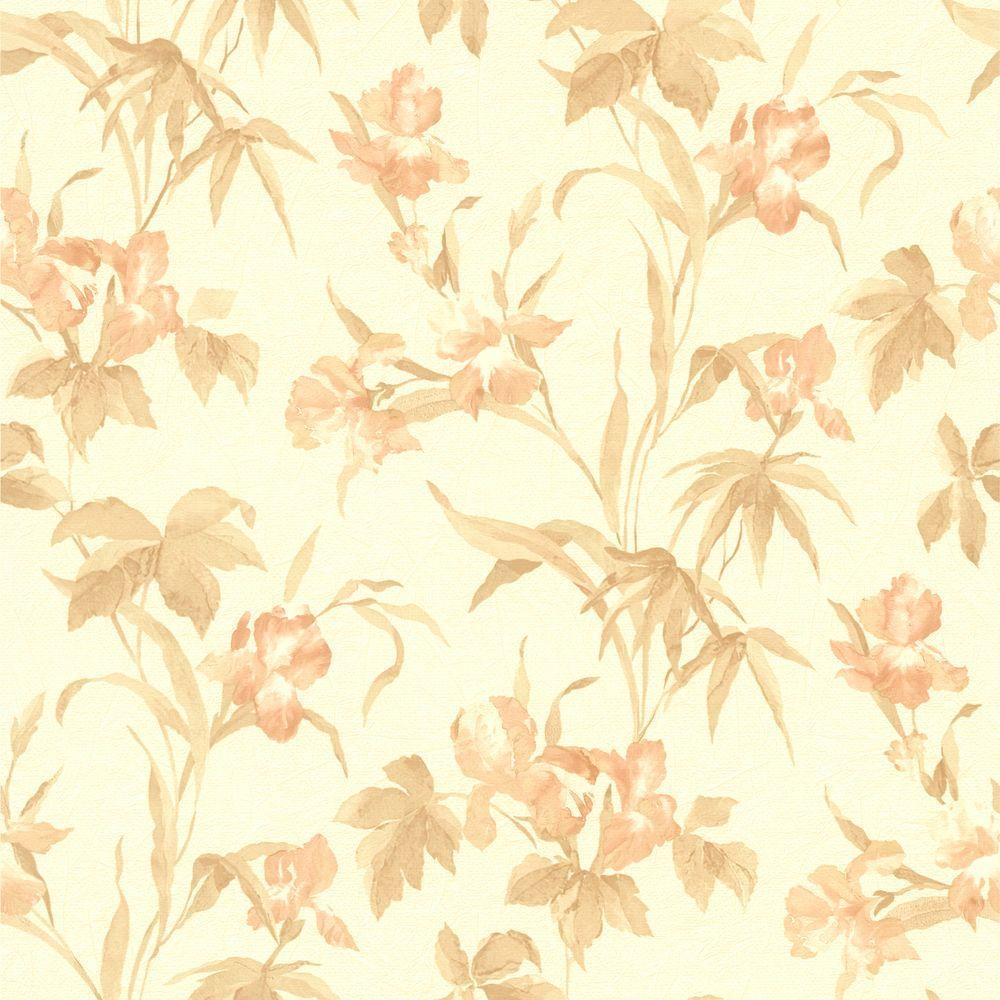 Peach iris floral wallpaper 414 65779 the home depot - Floral wallpaper home depot ...