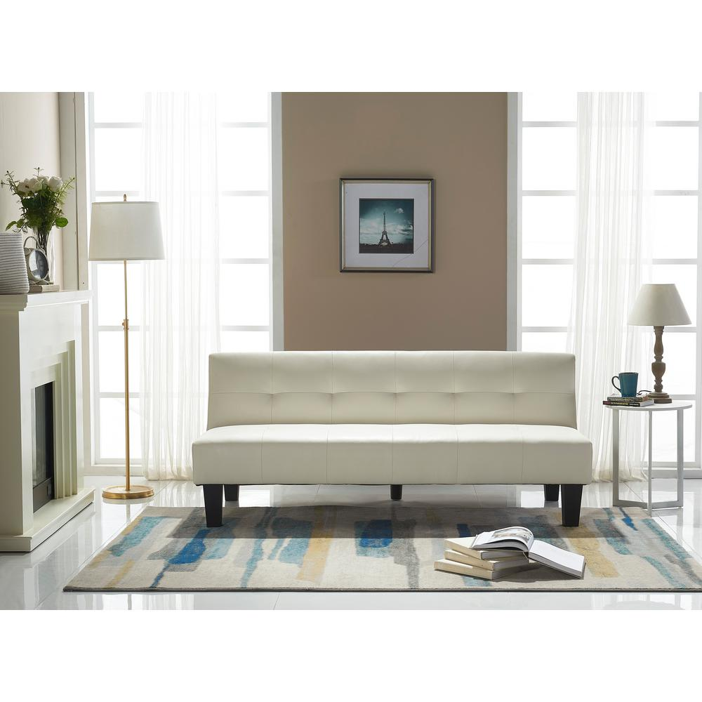 Crawford Burke Perth White Faux Leather Sleeper Sofa 16110438sl  ~ White Faux Leather Sleeper Sofa