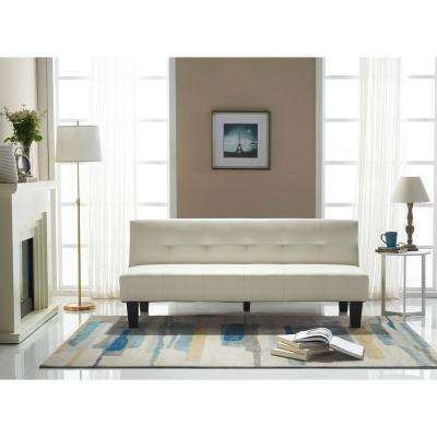 Perth White Faux Leather Sleeper Sofa