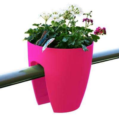 11.4 in. x 11.8 in. x 11.4 in. Pink Plastic Railing and Deck Planter (2 pack)