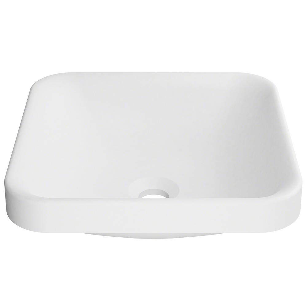 KRAUS Natura Square Solid Surface Semi Recessed Sink Basin In White