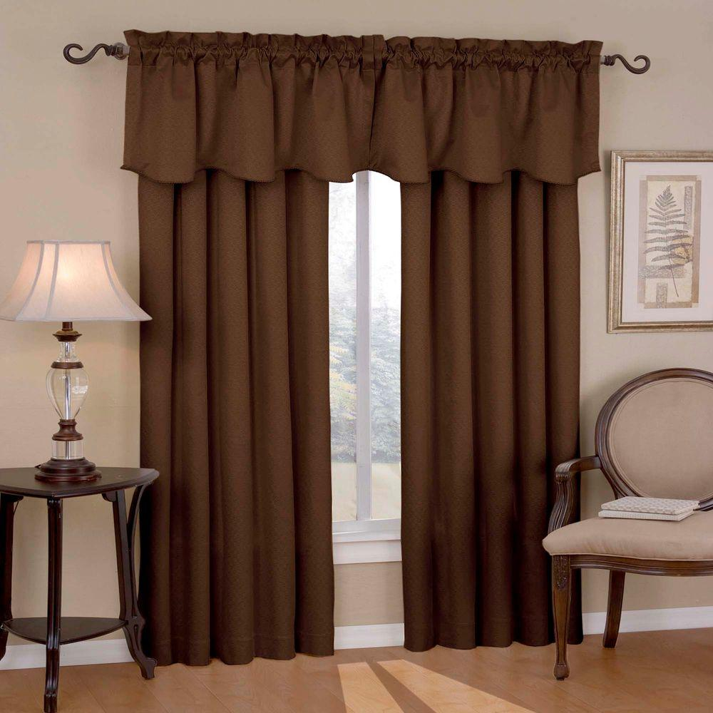 Canova Blackout Chocolate Polyester Curtain Valance, 21 in. Length