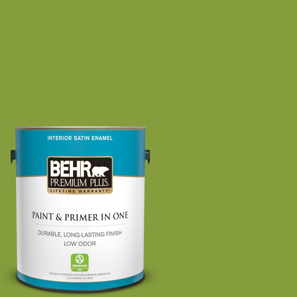 Behr Premium Plus 1 Gal T14 18 New Shoot Satin Enamel Low Odor Interior Paint And Primer In One 730001 The Home Depot
