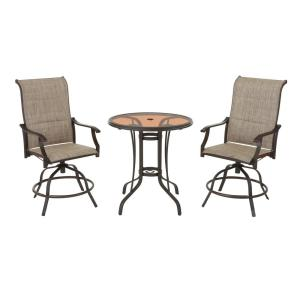 Hampton Bay Riverbrook 3-Piece Steel Outdoor Patio Dining Set