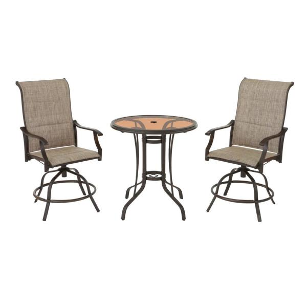 Riverbrook Espresso Brown 3-Piece Steel Outdoor Patio Swivel Sling Round Glass Top Outdoor Balcony Bistro Set