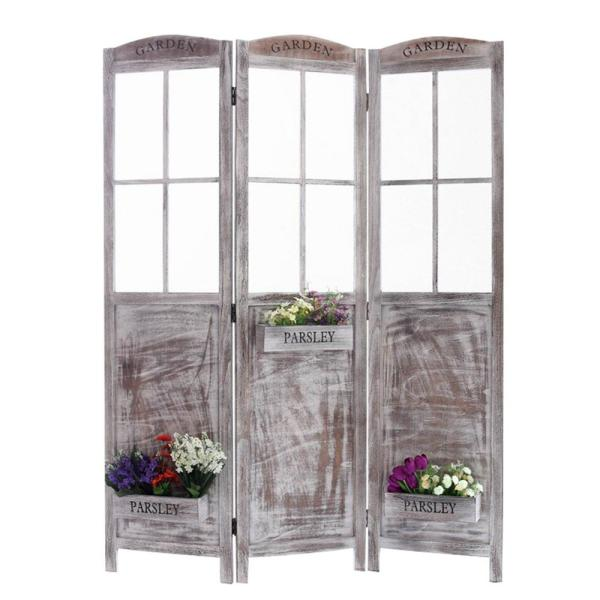 Flower Pot Garden 6 ft. Gray 3-Panel Room Divider SG-254