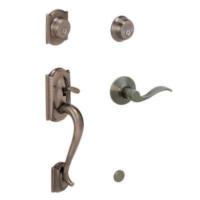 Camelot Antique Pewter Double Cylinder Deadbolt with Left Handed Accent Lever Door Handleset