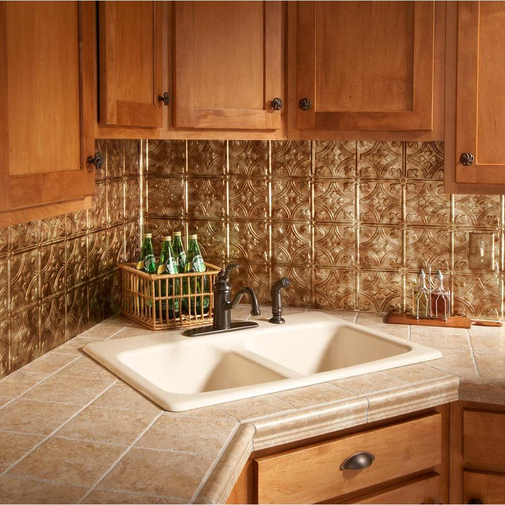Bermuda bronze tile backsplashes tile the home depot traditional 1 pvc decorative backsplash panel in bermuda bronze dailygadgetfo Choice Image