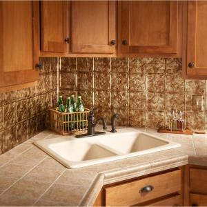 19 in. x 24 in. Traditional Style # 1 PVC Decorative Backsplash Panel in Bermuda Bronze
