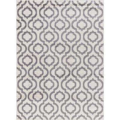 Jasmin Collection Moroccan Trellis Design Ivory and Gray 8 ft. x 8 ft. Area Rug