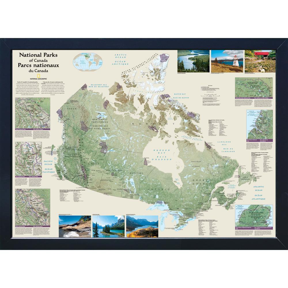 Winding Hills Designs Llc National Geographic Framed Interactive Wall Art Travel Map With Magnets Canada National Parks Ng3026ca Nps The Home Depot