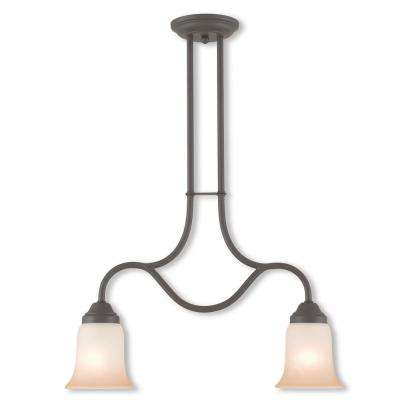 Karysa 2-Light Bronze Linear Chandelier with Hand Applied Sunrise Marble Glass Shade