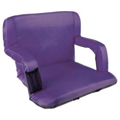 Purple Cushioned Wide Stadium Seat Chair with Carry Straps