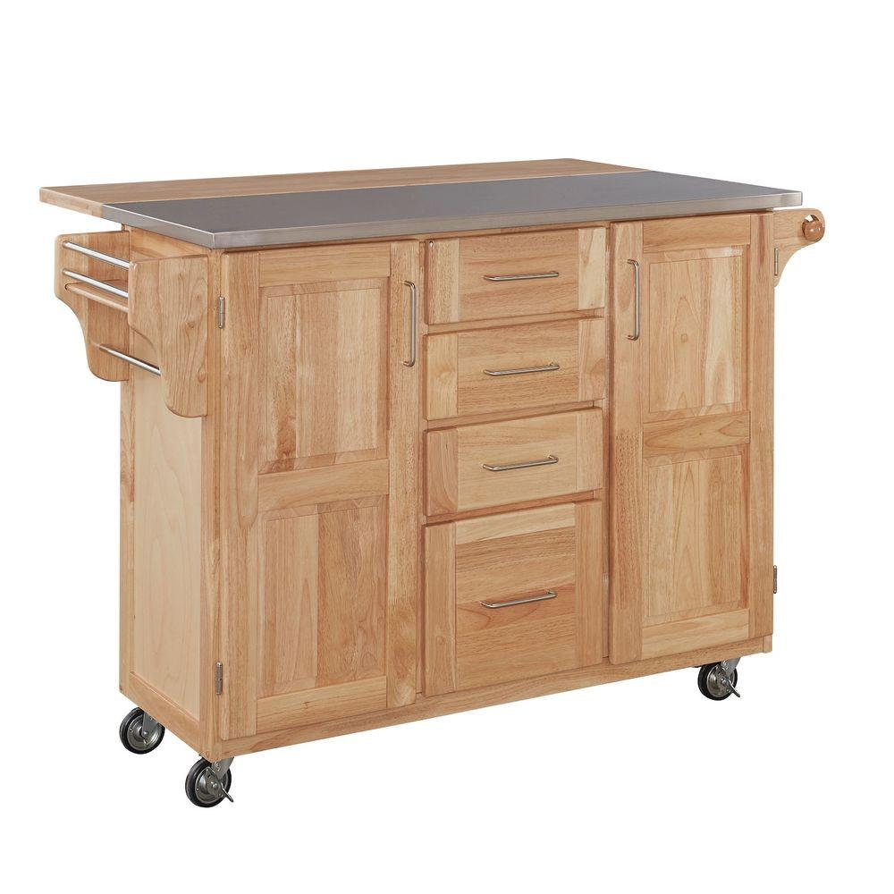 Home Styles Natural Kitchen Cart With Stainless Top