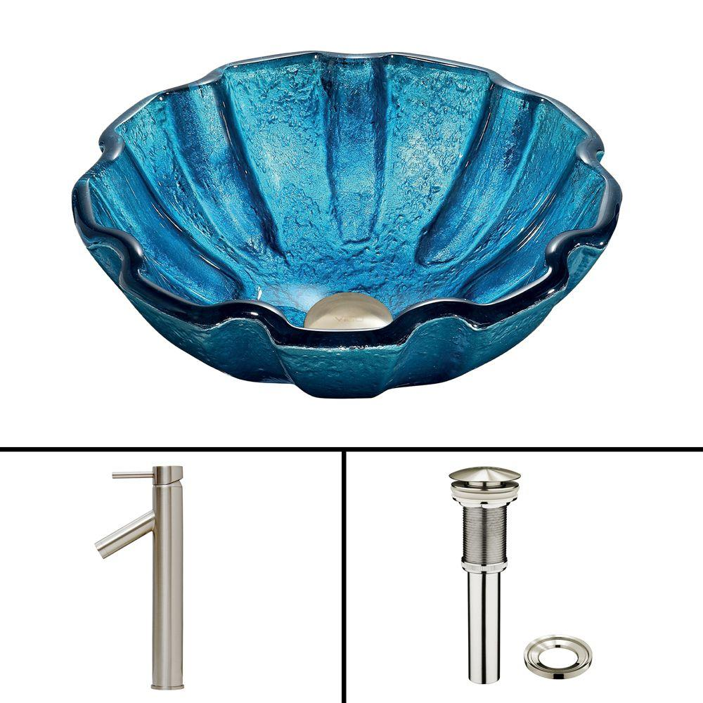VIGO Glass Vessel Sink in Mediterranean Seashell and Dior Faucet Set in Brushed Nickel