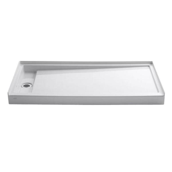 Groove 60 in. x 32 in. Acrylic Shower Base with Left-Hand Drain in White