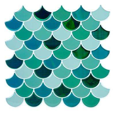 Peel and Stick Wall Tile 4-Pack in Scallop Greens