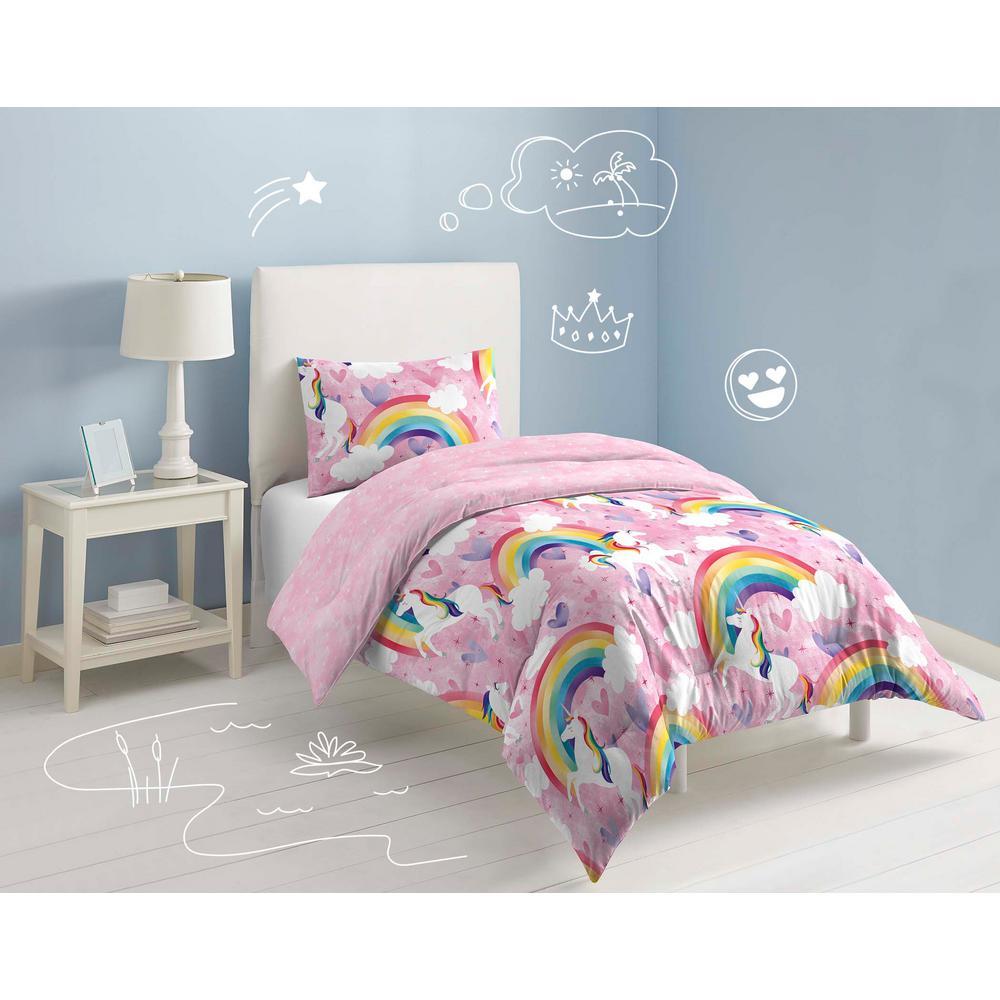 Unicorn 2-Piece Pink Unicorn Rainbow Twin Comforter Set