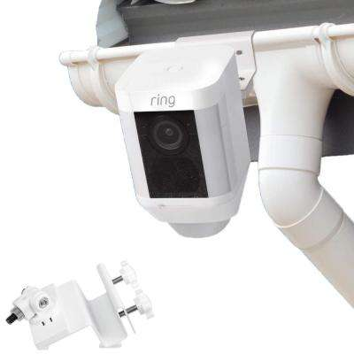 Weatherproof Gutter Mount Compatible with Ring Spotlight Cam Battery with Universal Screw Adapter, White
