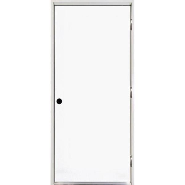36 in. x 80 in. Premium Flush Primed White Left-Hand Outswing Steel Prehung Front Door with 4-9/16 in. Frame