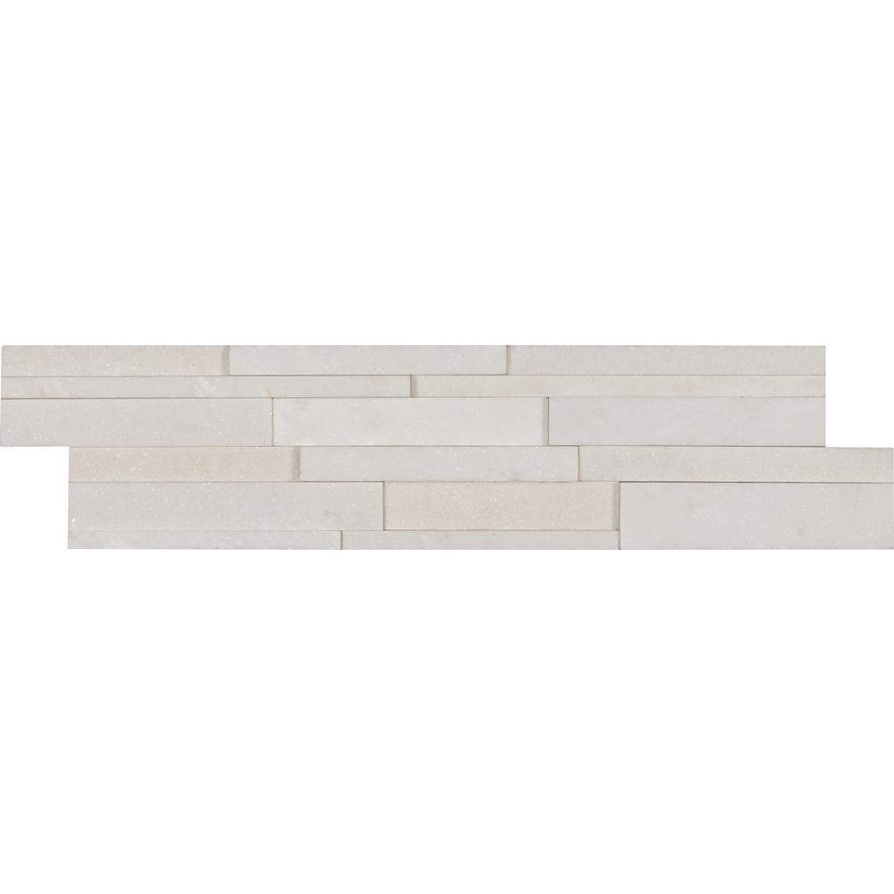 Arctic White 3D Ledger Panel 6 in. x 24 in. Honed