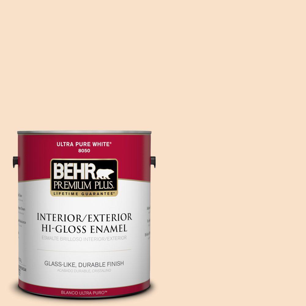 BEHR Premium Plus 1-gal. #M250-1 Frosting Cream Hi-Gloss Enamel Interior/Exterior Paint