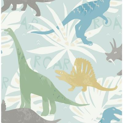 Kids Pack Party Green, Blue and Yellow Dinosaur Wallpaper