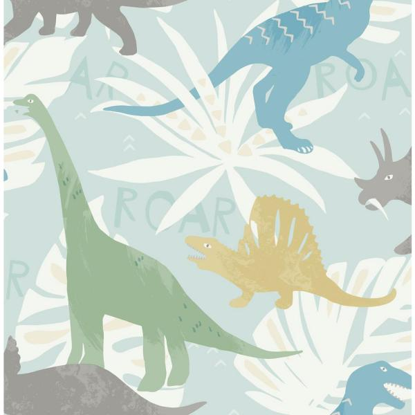 Wallquest Kids Pack Party Green Blue And Yellow Dinosaur