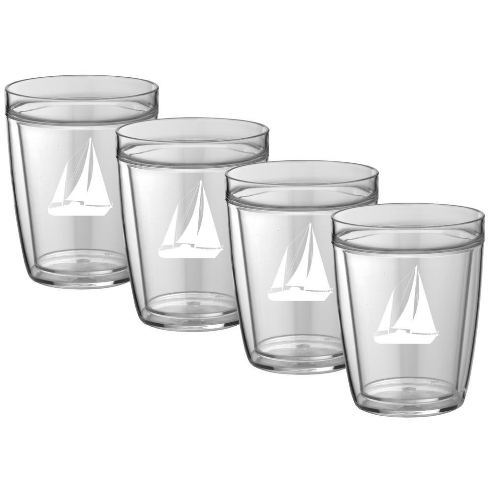 Kraftware Kasualware Sailboat 14 oz. Doublewall Short Tumbler (Set of 4) by Kraftware