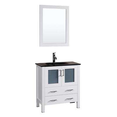 30 in. W Single Bath Vanity in White with Tempered Glass Vanity Top with Black Basin and Mirror