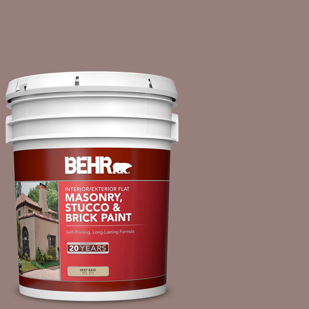 BEHR 5 gal. #N130-5 Mystere Flat Interior/Exterior Masonry, Stucco and Brick Paint