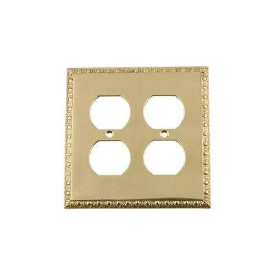 Egg and Dart Switch Plate with Double Outlet in Unlacquered Brass