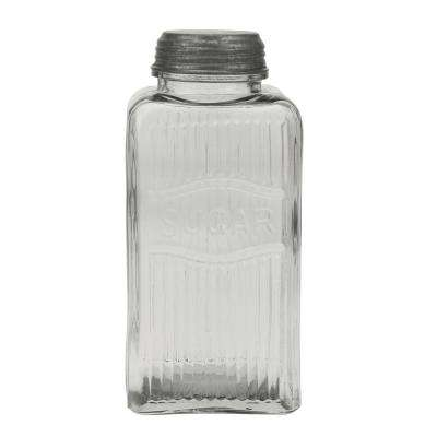 Clear Pressed Glass Sugar Jar with Galvanized Lid