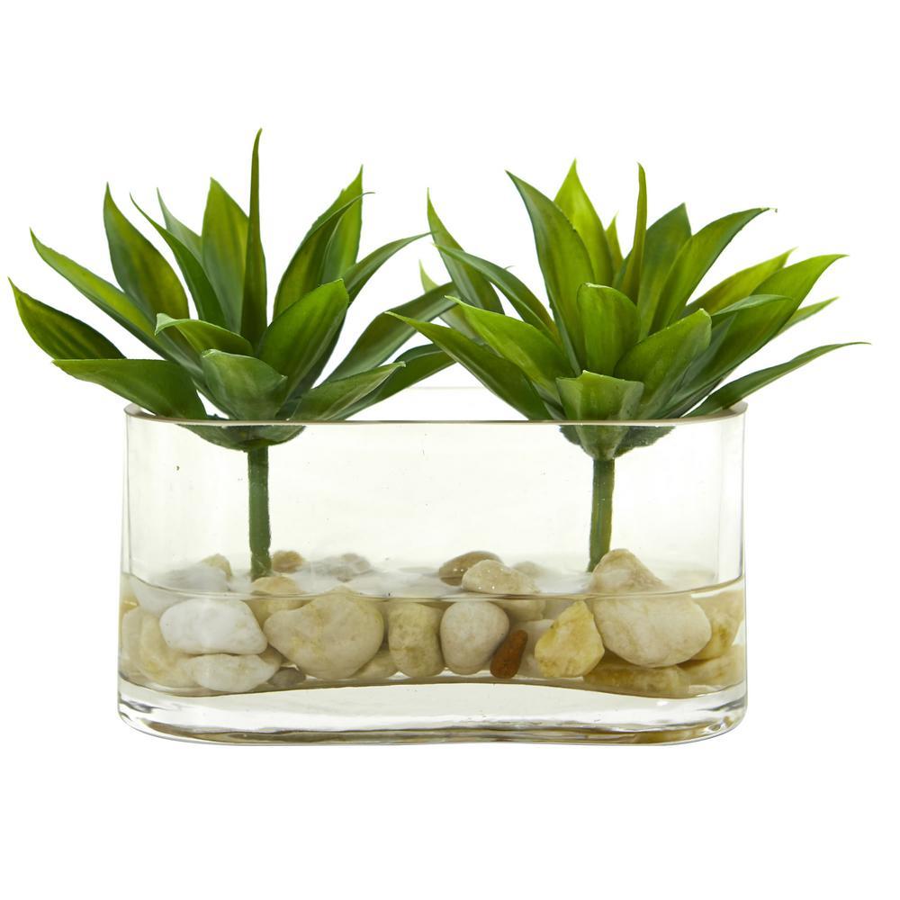 6.5 in. Indoor Mini Agave Succulent Artificial Arrangement in Glass Vase