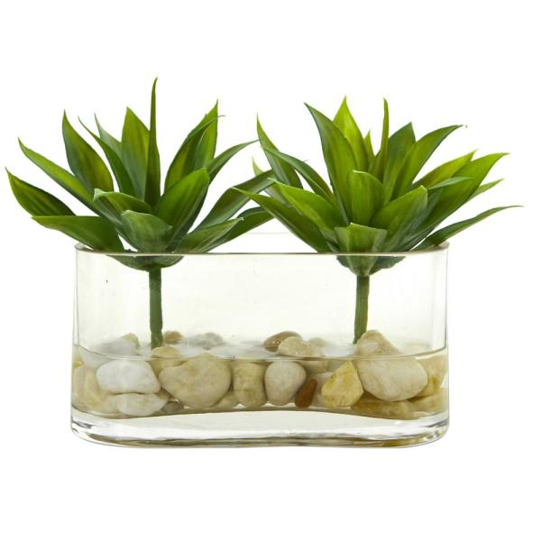 Nearly Natural 6.5 in. Indoor Mini Agave Succulent Artificial Arrangement in