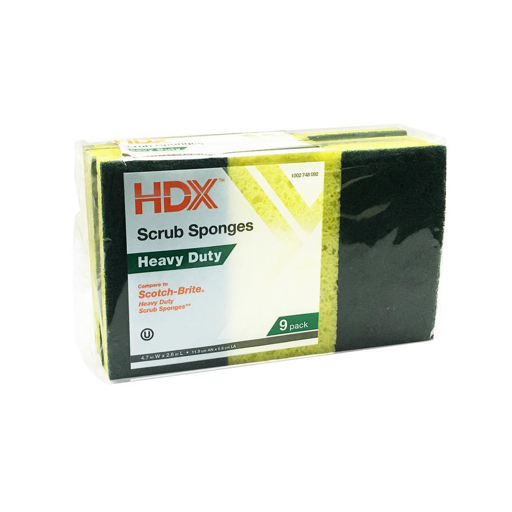 Heavy-Duty Scrub Sponge with Scour Pad (9-Pack)
