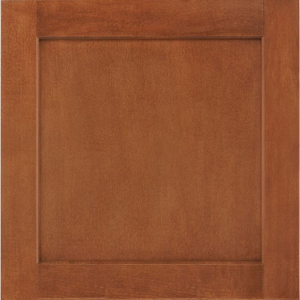 American Woodmark 14-1/2 in. x 14-9/16 in. Cabinet Door Sample in Leesburg  Maple Cognac