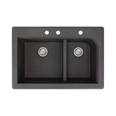 Radius Drop-in Granite 33 in. 3-Hole 1-3/4 J-Shape Double Bowl Kitchen Sink in Black