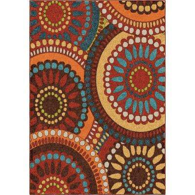 Pinwheel Orange 5 ft. x 8 ft. Indoor Area Rug