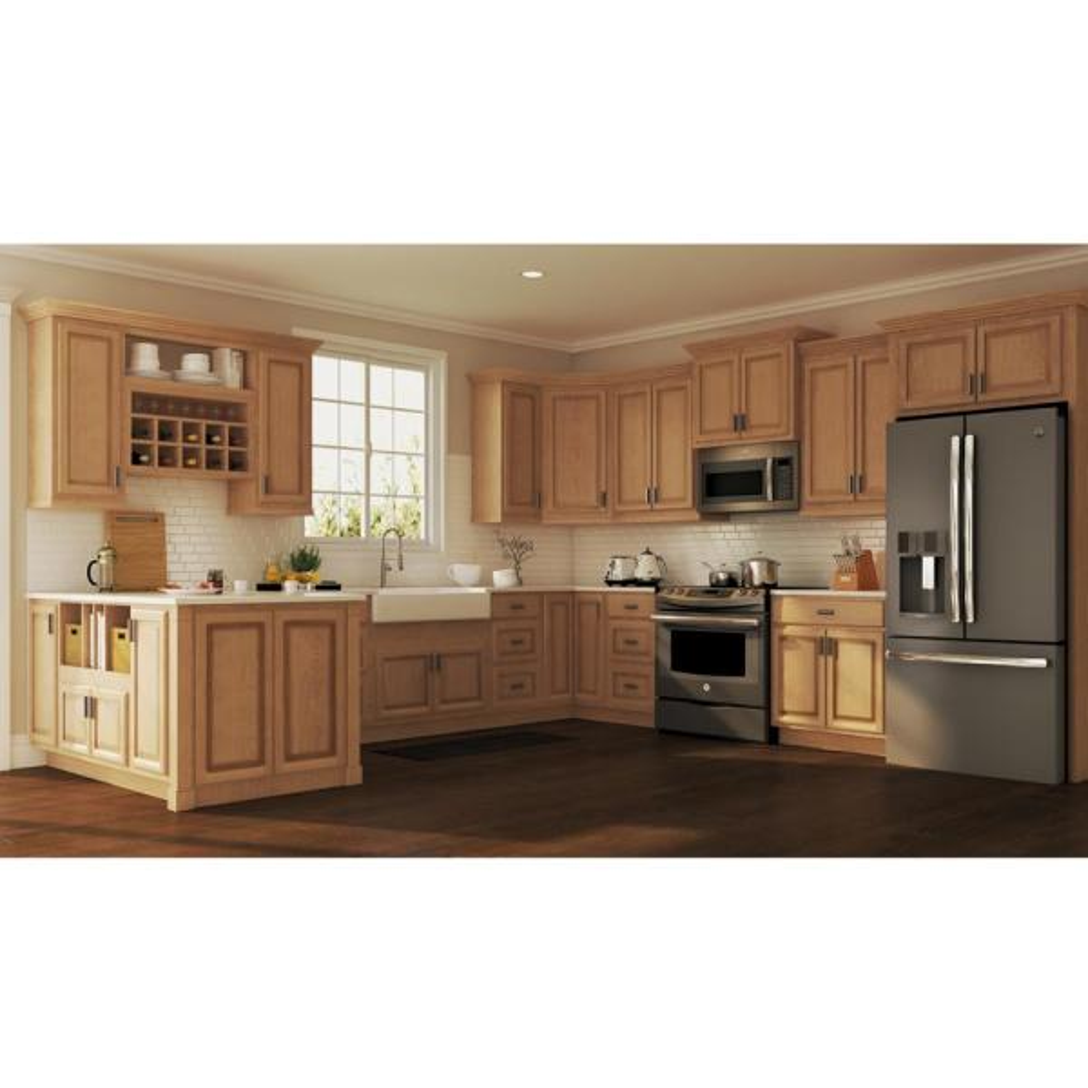 Hampton Bay Hampton Assembled 12x42x12 In Wall Kitchen Cabinet In Medium Oak Kw1242 Mo The Home Depot