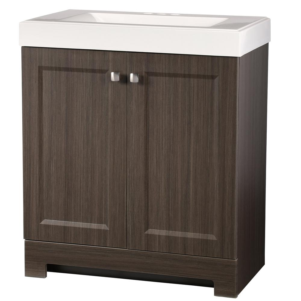 1d126d73a Glacier Bay. Shaila 30.5 in. W Bath Vanity in Silverleaf with Cultured  Marble Vanity Top in White with White Sink