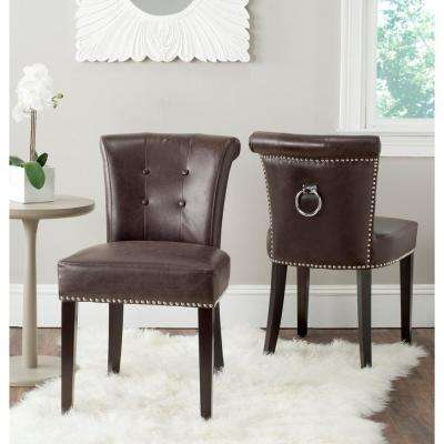 Sinclair Antique Brown/Espresso Leather Side Chair (Set of 2)